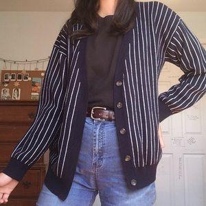 Pinstriped navy Cardigan